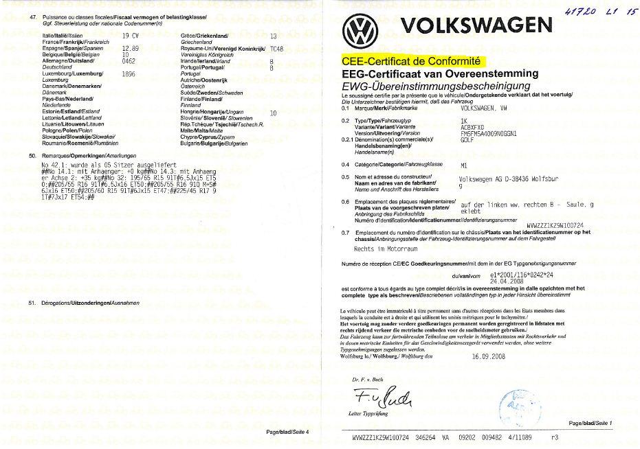 Certificat de conformité allemand valable en France pour faire la carte grise