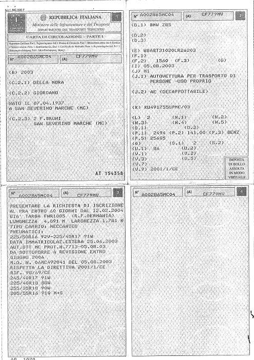 Certificat de conformité italien valable en France pour faire la carte grise