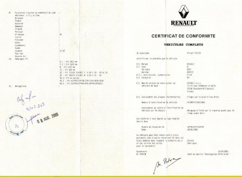 Comment faire pour obtenir le certificat de conformité Renault