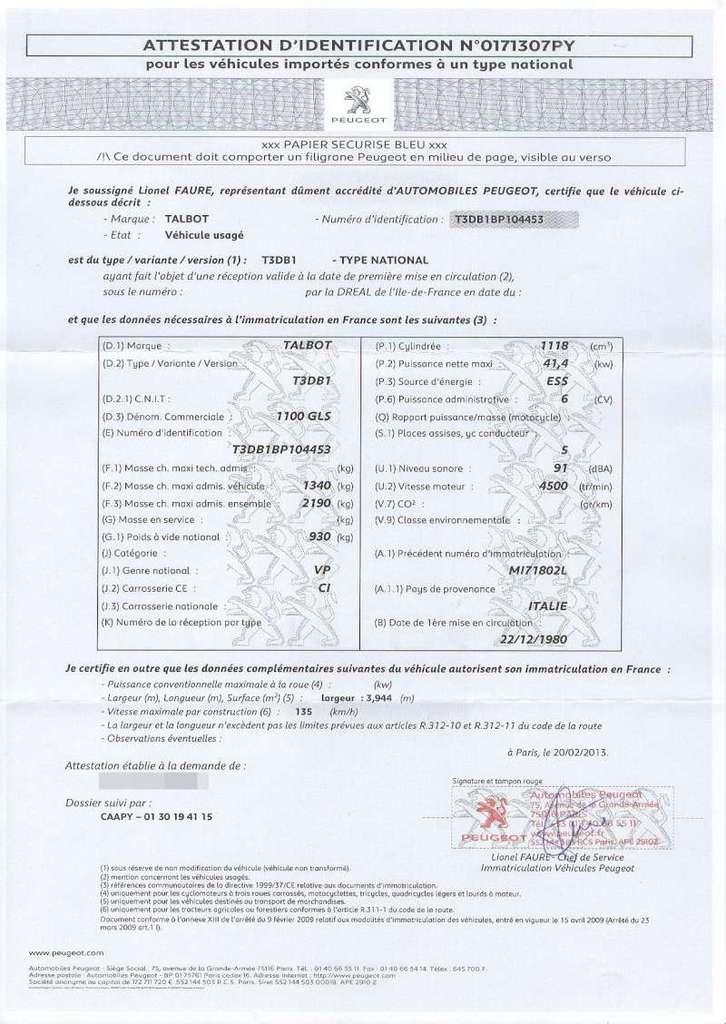 Demande de certificat de conformité pour carte gris