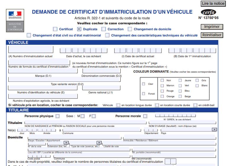 certificat de perte de carte grise Perte, vol ou détérioration de la carte grise : demande de